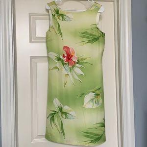 Tommy Bahama 100% Silk Sleeveless Green Dress
